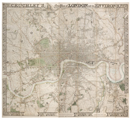 Cruchley's New Plan of London and its Environs: 1828