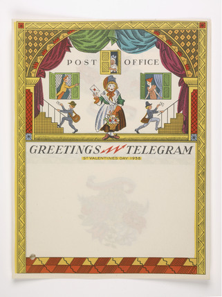 Valentines greeting telegram  issued by the General Post Office, 1938