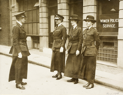 Policewomen on parade; 1915