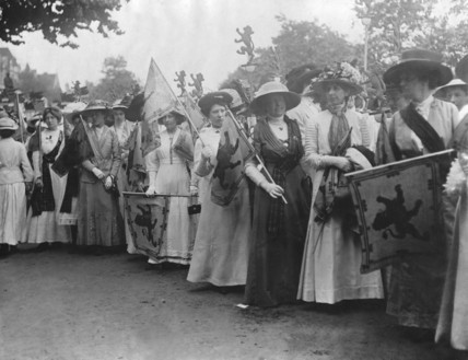 Suffragettes from the Scotland contingent, line up to take part in the Coronation Procession: 1911