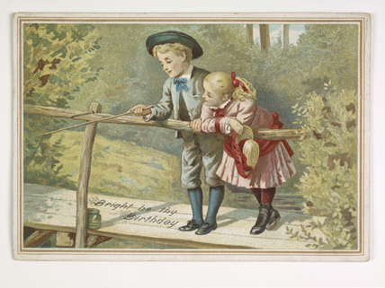 Birthday card of two children on a bridge; 1885-1905