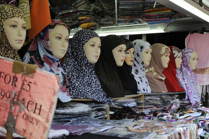 Head scarves on a stall at Shepherds Bush Market; 2009