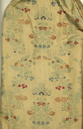 Detail of fabric from a cream, taffteta, brocade dress;1721-30