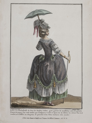 Coloured print of a woman standing; 1778