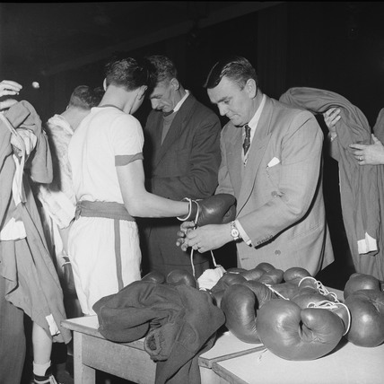 Competitors preparing at the London Schools Amateur Boxing Competition: 1958