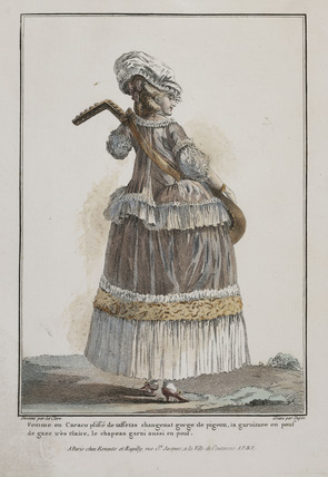 Coloured print of a woman with a musical instrument;1778