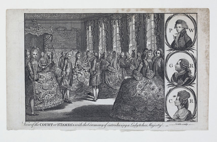View of the Court at St. James's with the Ceremony of introducing a Lady to her Majesty: 1778 - 1780