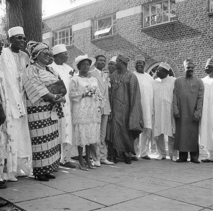 Photograph of an African wedding in Willesden, 1985.