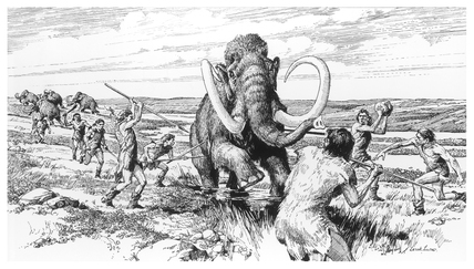 Reconstruction drawing of a mammoth hunt: c. 60,000 BP