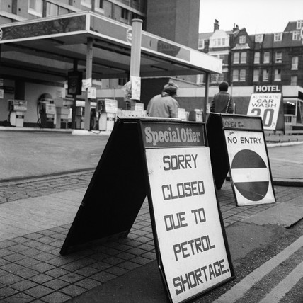 Petrol shortage sign: c.1973