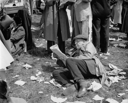 Spectators at the Epson Downs Racecourse on Derby Day: c.1960