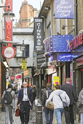 People walking down Berwick Street; 2009