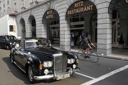 A Rolls Royce car outside the Ritz Hotel; 2010