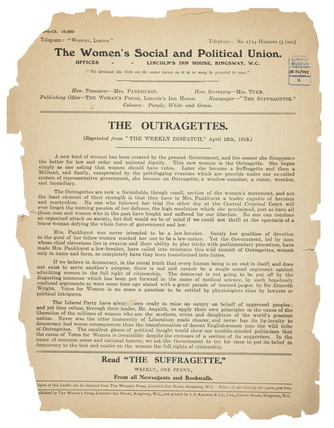 The Outragettes: 1913