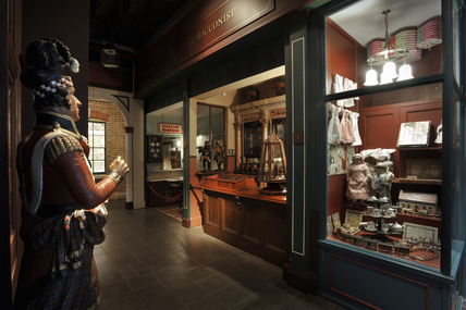 A general view of the Victorian Walk Gallery with the Tobacconist on the left and Toy Shop on the right.