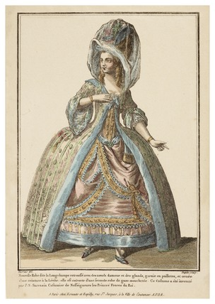 Nouvelle Robe dite la Longchamps retroussee avec des noeuds damour et des galands: 1779