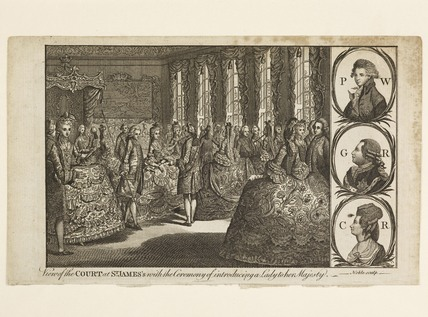 View of the Court at St. James's with the Ceremony of introducing a Lady to her Majesty. c. 1778