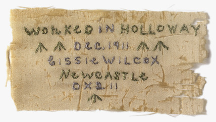 Needlework made in Holloway prison: 1911.