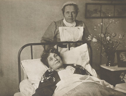 Emmeline Pankhurst recovering from hunger strike: 1913