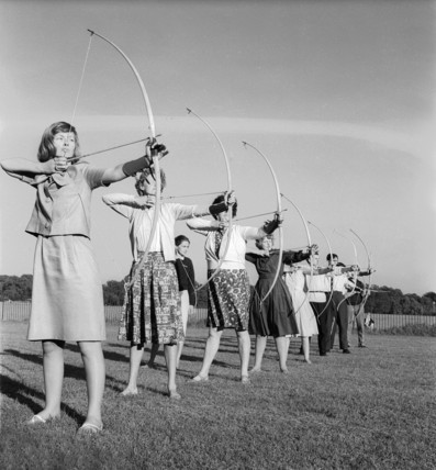 An archery lesson in progress: c.1965