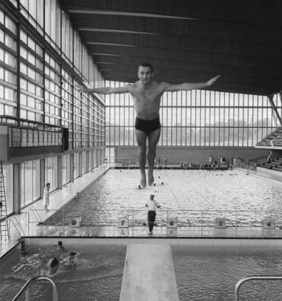 A man diving of a high board; 1964
