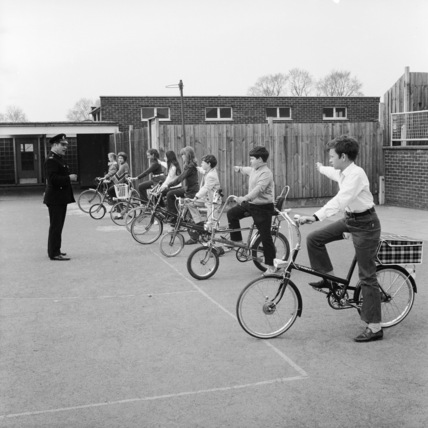 Children taking their National Cycling Proficiency Test;1972