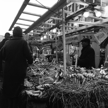 A fruit and vegetable market stall on Portobello Road; 1960's