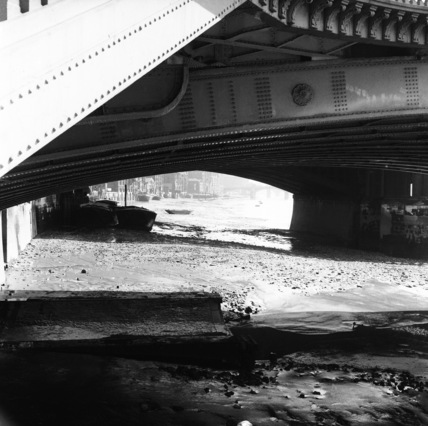 The foreshore beneath Blackfriars Bridge; 1957