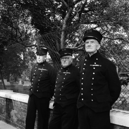 Three Chelsea Pensioners in full uniform c.1962