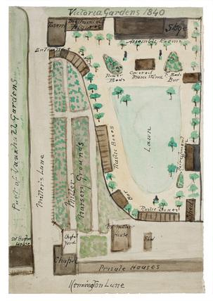 Plan of Victoria Gardens: 1840