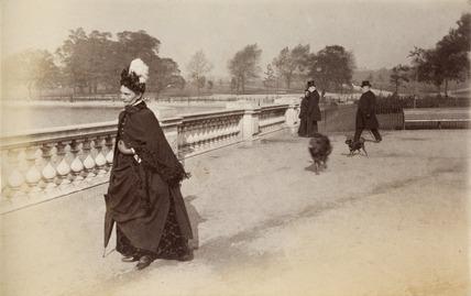 Woman walking in Hyde Park, c. 1890