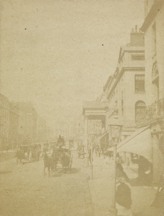 Street Scene with horse-drawn cabs; c.1860