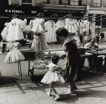 Dress stall in Portobello Road market in the 1950s.