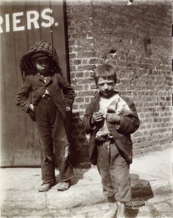 Two young 'street urchins' in Redcross Street, 1901