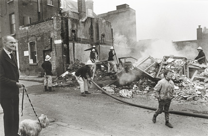 The scene of a fire at a temporary travellers site in Bermondsey, 1986
