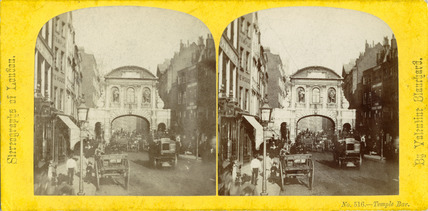 An albumen stereocard of Temple Bar c.1862