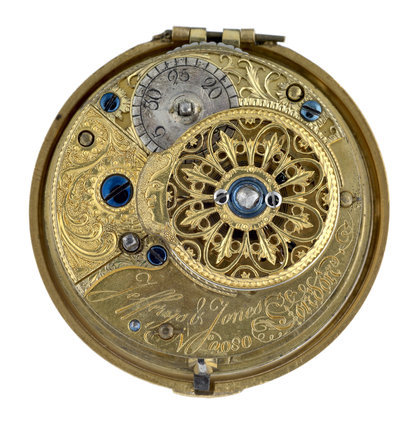 Gold and enamel pair cased watch; 1781-1782