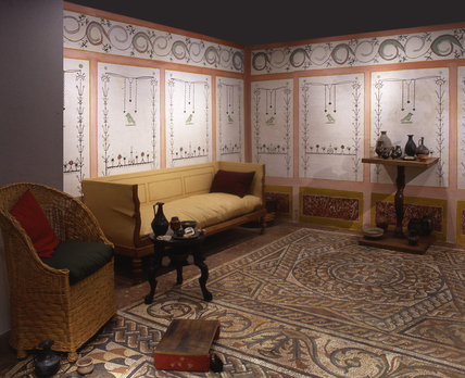 Detail of a reconstructed Roman living room.