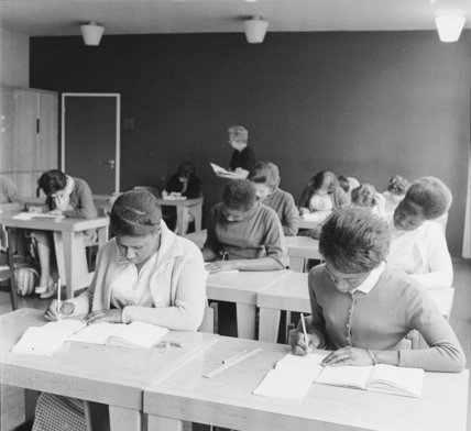 Women practising their shorthand at Brixton College. c. 1960