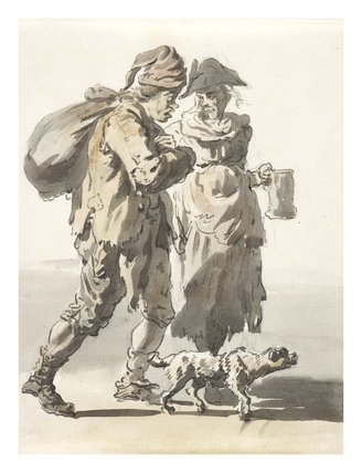 A man with a sack, a woman with a beer mug and a dog: 1759