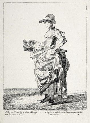 Will your honour buy a sweet nosegay or a memorandum book: 1760