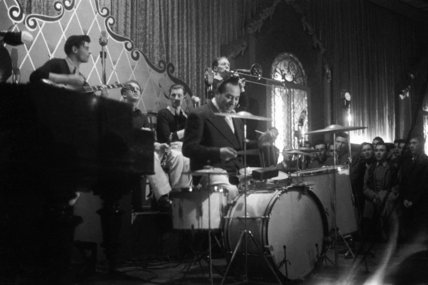 A jazz band playing at the Hammersmith Palais ballroom