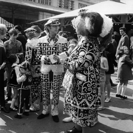 Pearly Kings and Queens at Covent Garden Fair; c 1970