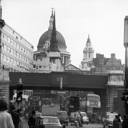 View from Ludgate Circus looking up Ludgate Hill towards St. Paul's Cathedral