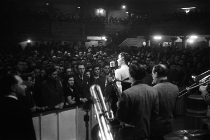 Jazz band and singer performing at the Hammersmith Palais