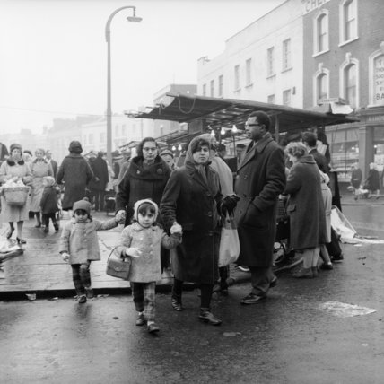 A Family shopping at Camden Town Market; c.1969