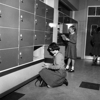 Girls at their lockers, Kidbrooke School; 1958