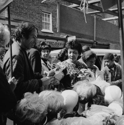 Wig stall at Petticoat Lane Market; c.1965