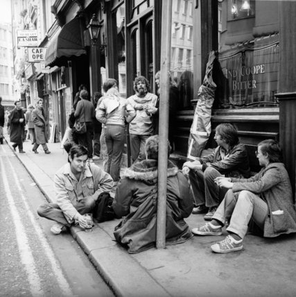 Pub-goers on the street outside the Marquis of Granby; c.1970