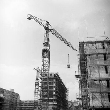 Building works and Gleeson cranes in Red Lion Street; 1955